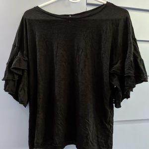 Elan Black Ruffle-Sleeve Top